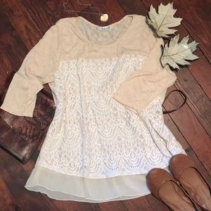 Maurices Lace front 3/4 lightweight sweater 3x
